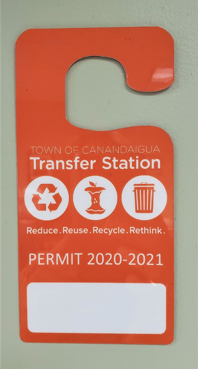 Orange Hanging Permit Tag for Transfer Station